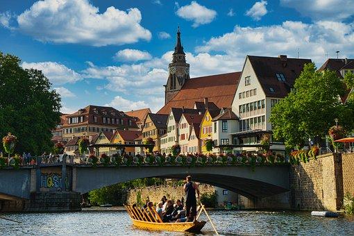 Boat, Bridge, Neckarfront, Town, Old Town, Buildings