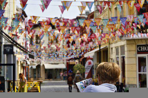 Tourist, Street, Buntings, Person, Traveler, Festive