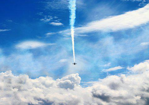 Aircraft, Contrail, Clouds, Sky, Flight, Vapor Trail