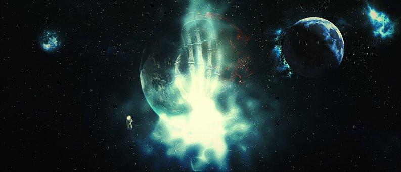 Skeleton, Galaxy, Fantasy, Hand, Light, Cosmos