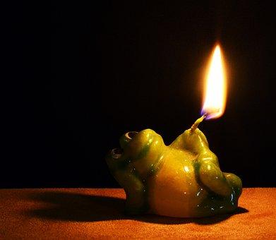 Frog, Fire, Candle, Ceramic, Figurine, Decoration