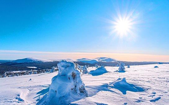 Snow, Mountains, Sun, Sky, Field, Winter, Ice, Snowy