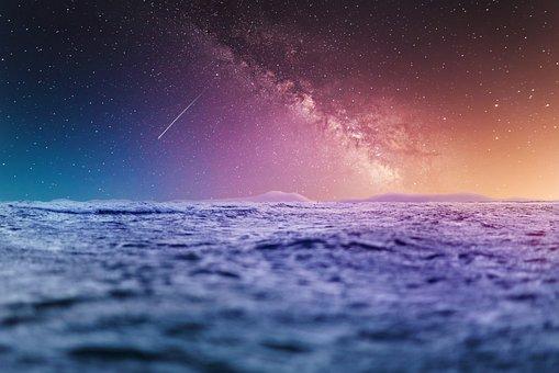 Ocean, Waves, Shooting Star, Sunset, Space, Night