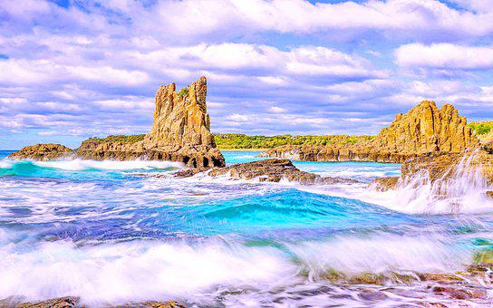 Sea, Waves, Cliffs, Rocks, Rock Formation, Rocky Coast