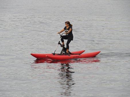 Bike, Water Bike, Pedals, Lake, Sport, Training, Cycle