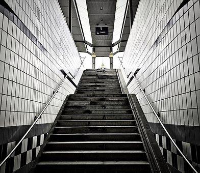 Stairs, Railway Station, Underground, Subway, Metro