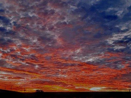 Sunset, Cumulus, Clouds, Evening, Twilight, Sky, Nature