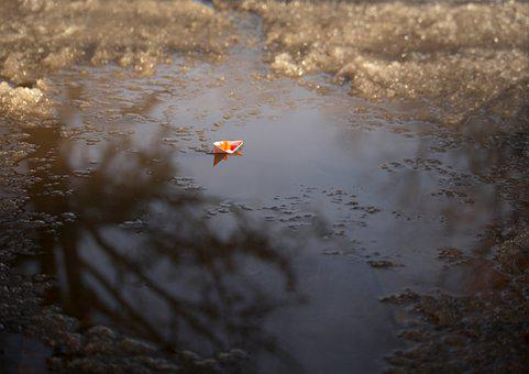 Paper Boat, Puddle, Ice, Water, Snow, Winter, Frost
