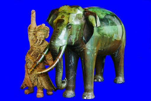 Elephant, Blue, Thailand, Animal, Statue, Ancient