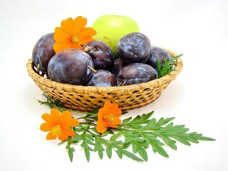 Fruit, Basket, Flowers, Plum, Apple, White Background