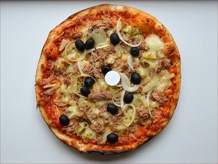 Pizza, Whole, Baked, Vegetable, Toppings, Anchovie