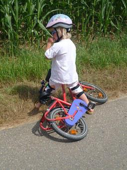 Child, Bicycle Helmet, Bike, Fall, Failure, Learn