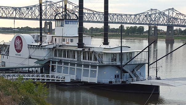 Casino, Boat, Water, River, Mississippi, Bridge, Dock