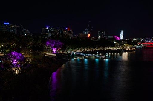 Brisbane, Southbank, Nightview, Australia, Queensland