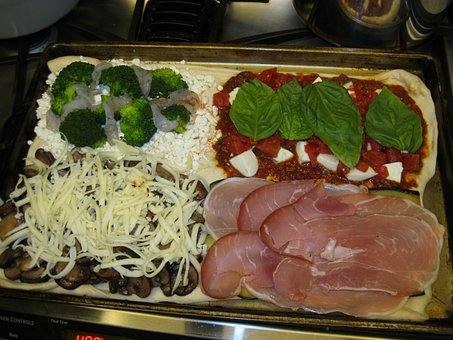 Pizza, Food, Basil, Prosciutto, Broccoli, Mushrooms