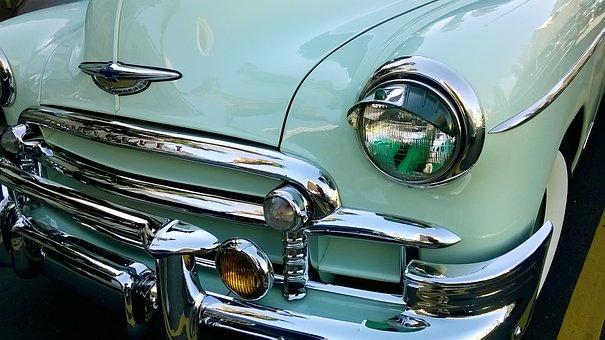 Car, Retro, Auto, Blue, Mint Color, Chevrolet