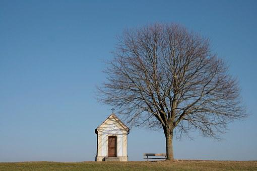 Chapel, Feldkapelle, Tree, Defoliated, Spring, Sky