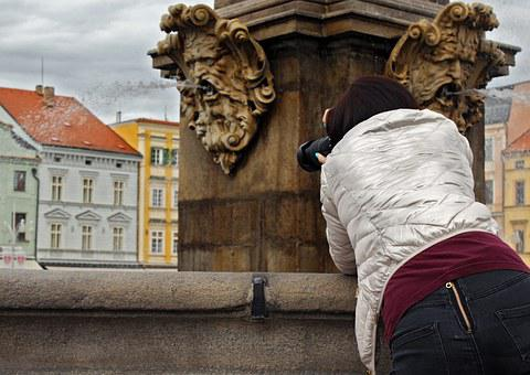 Fountain, City, Czech Budejovice, Girl, Photo, Camera