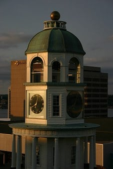 Clock, Halifax, Nova, Scotia, Tower, Sunset, Canada