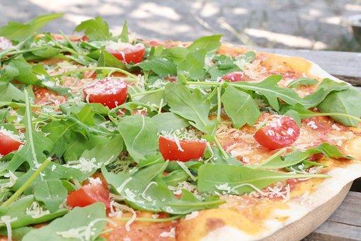 Pizza, Eating, Healthy, Kitchen, Food, Dinner, Arugula
