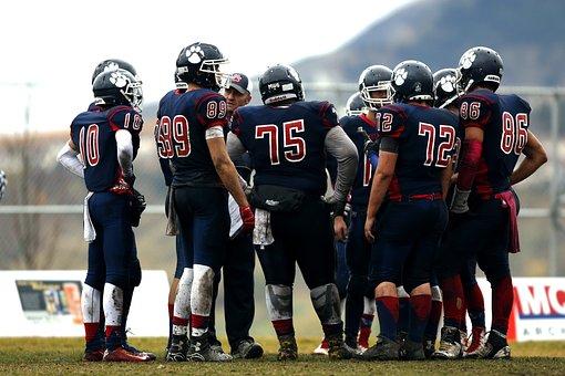 Football Team, Huddle, Teamwork, Athletes, Coach