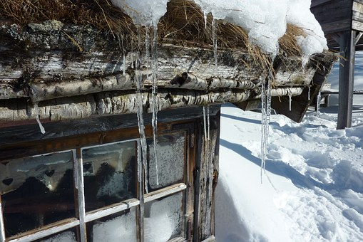 Cottage, Mountain, Snow, Winter, March, Icicle, Fells