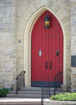 Door, Red, Church, Stonework, Masonry, Entrance, Open