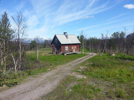 Fjällstuga, Summer, Norrland, Fells, Cottage, Himmel
