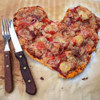 Pizza, Mat, Heart, Organic, Eco, Cooking, Eat, Cutlery