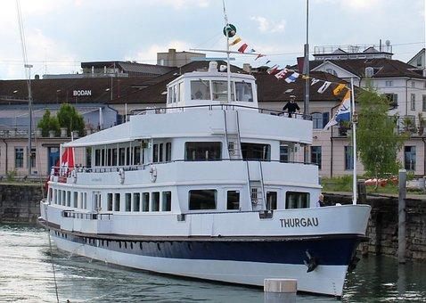Ship, Motor Ship, Excursion Boat Thurgau, Port