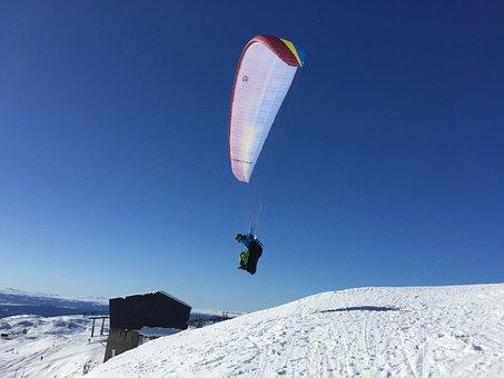 åre, Paragliding, Fells, Sports, Snow, Himmel, Blue Sky