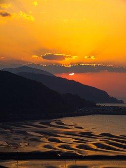 Japan, Coast, Kumamoto, Sunset, Sun, Tideland