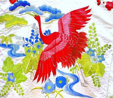 Kimono, Japanese, Traditional, Fabric, Silk, Embroidery