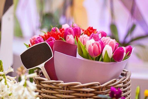 Tulips, Bouquet, Basket, Flowers, Bunch Of Flowers