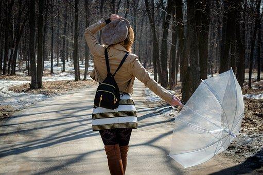 Woman, Cap, Skirt, Umbrella, Forest, Leather Jacket