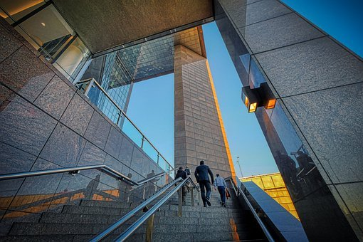 Stairs, Building, Businessmen, Climbing Up, Business