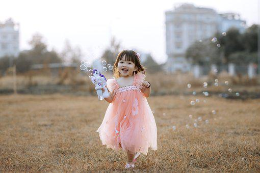 Child, Girl, Bubbles, Play, Happy, Dress, Cute, Toddler