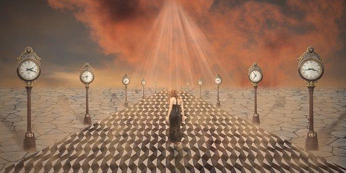 Clocks, Woman, Fantasy, Path, Walkway, Girl, Light