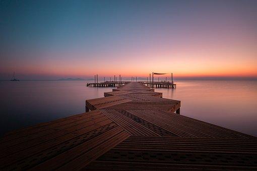 Sunset, Sunrise, Sea, Water, Colours, Pier, Mar Menor