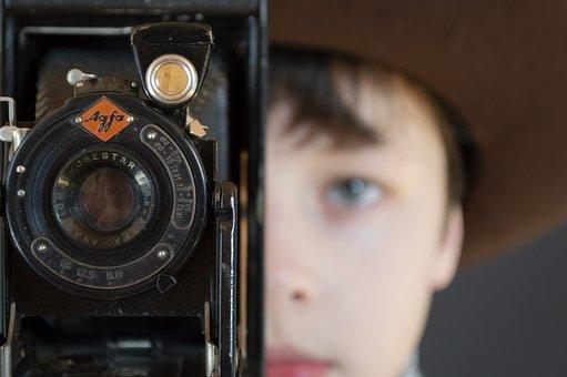 Boy, Teen, Camera, Lens, Face, Person, Expression