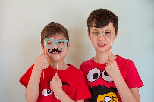 Boys, Props, Glasses, Mustache, Costume, Children, Kids