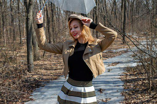 Woman, Umbrella, Cap, Road, Forest, Spring