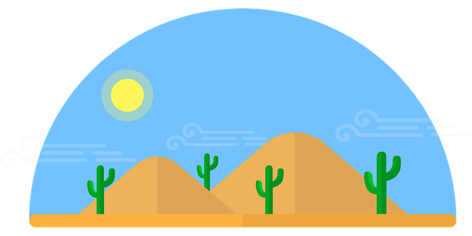 Desert, Cactus, Hills, Sand, Valley, Sun, Sky, Dry, Hot