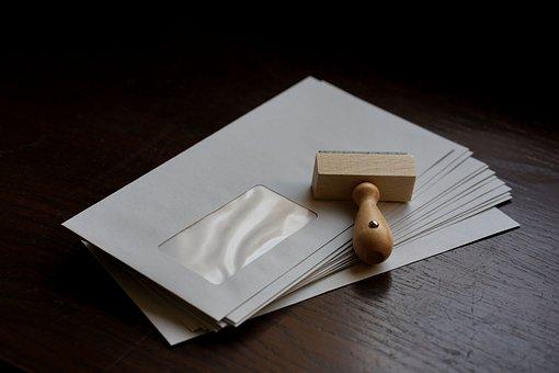 Envelopes, Letters, Wooden Stamp, Stamp, Mail