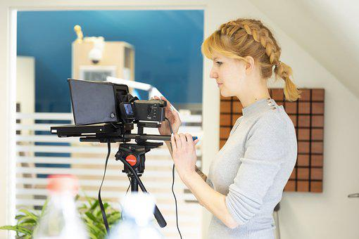 Teleprompter, Camera, Reporter, Woman, Work, Job