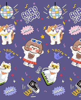 Girl, Cartoon, Background, Pattern, Cat, Animal, Music