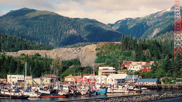 Port, Boats, Mountains, Town, City, Buildings, Trees