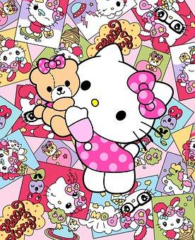 Hello Kitty, Cartoon, Background, Cat, Animal