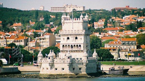 Belem Tower, Castle, City, Lisbon, Buildings, River