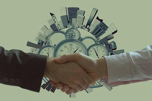 Handshake, Clock, Buildings, Concept, Businessmen, City